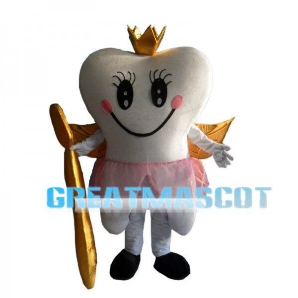 White Teeth With Golden Wings Mascot Costume