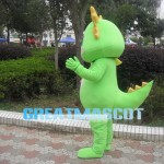 Green Dragon With Golden Scarf Mascot Costume
