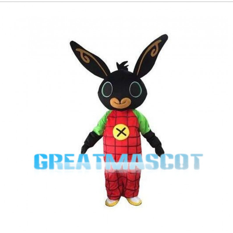 Black Rabbit With Red Plaid Pants Mascot Costume