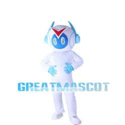 White Light Robot With Headset Mascot Costume