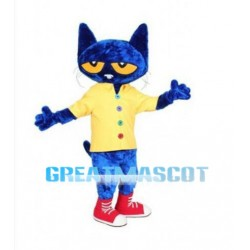 Confused Blue Cat Mascot Costume