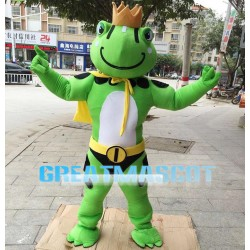 Powerful Crown Frog With Cloak Mascot Costume