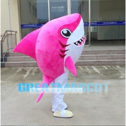 Pink Shark With Sharp Tooth Mascot Costume