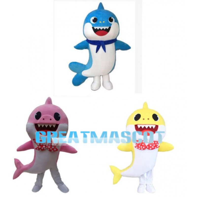 Smiling Colorful Little Shark Mascot Costume