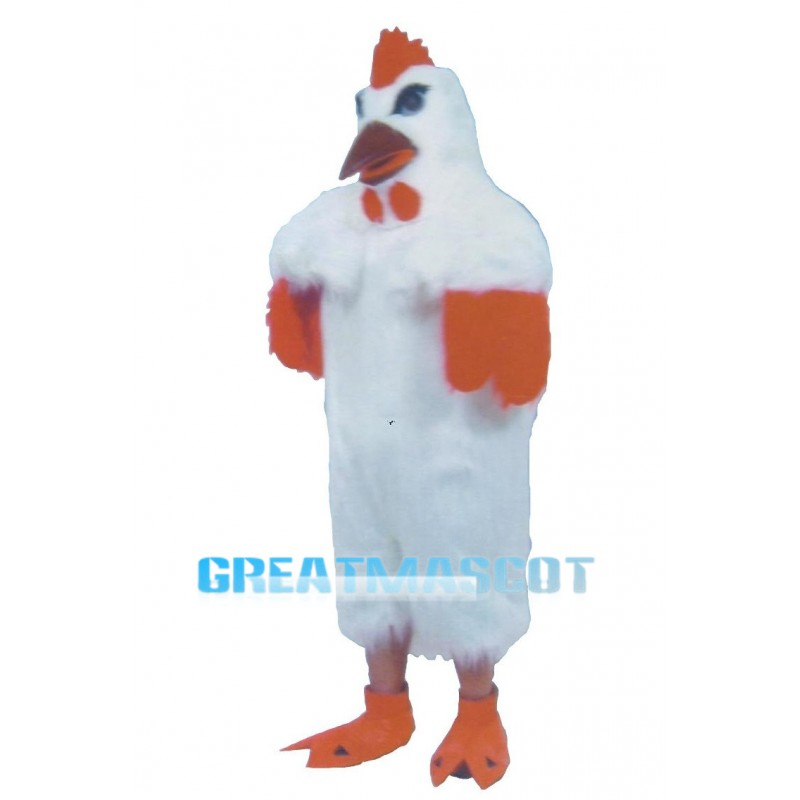 Classic White Rooster Long Wool Mascot Costume