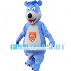 Blue Long-haired Bear Mascot Adult Costume