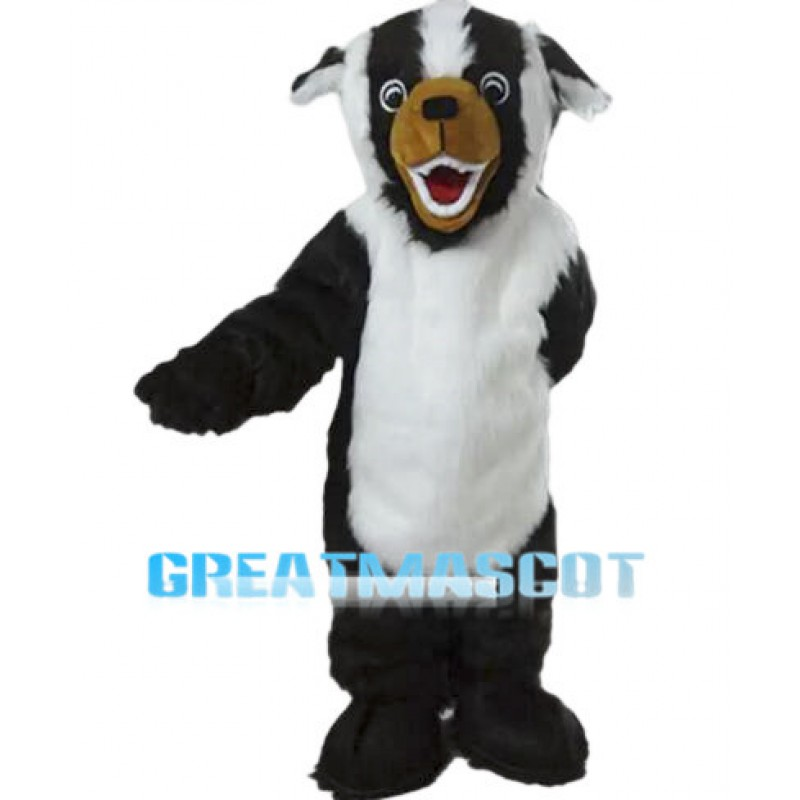 Howling Black & White Dog Long Wool Mascot Costume