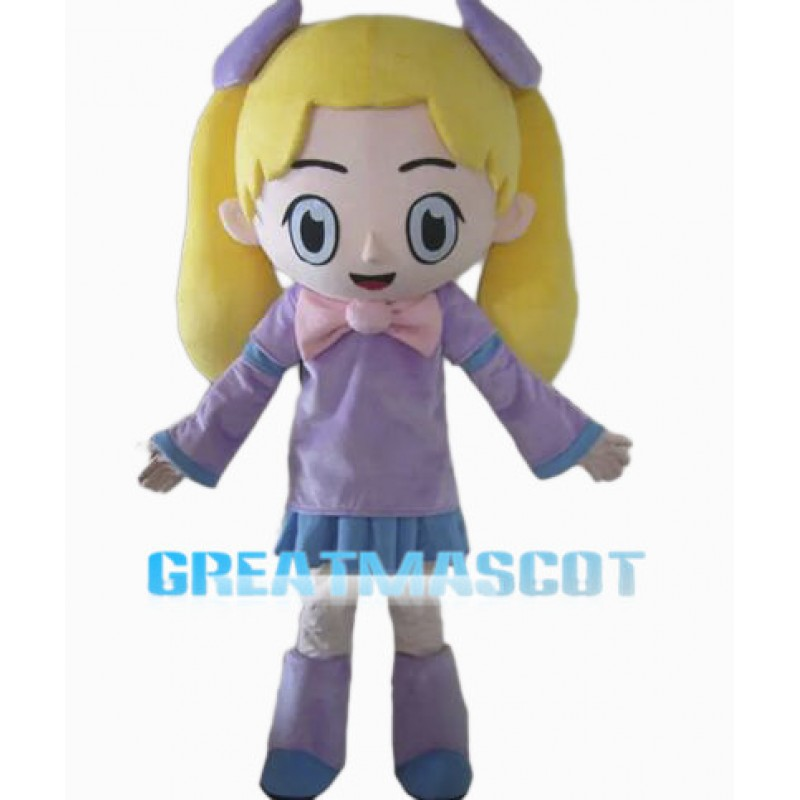 Sweet Girl In Purple Suit Mascot Costume