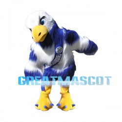 Long Fur Blue & White Eagle Mascot Adult Costume