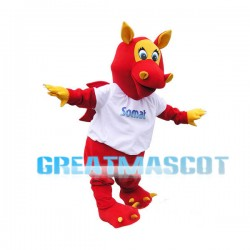 Yellow & Red Dinosaur Mascot Adult Animal Fancy Dress Costume
