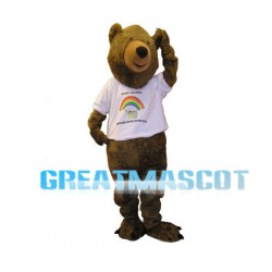 Brown Bear With Rainbow T-shirt Mascot Adult Costume