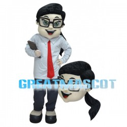 Woman Mascot Costume Wearing Business Suit And Tie