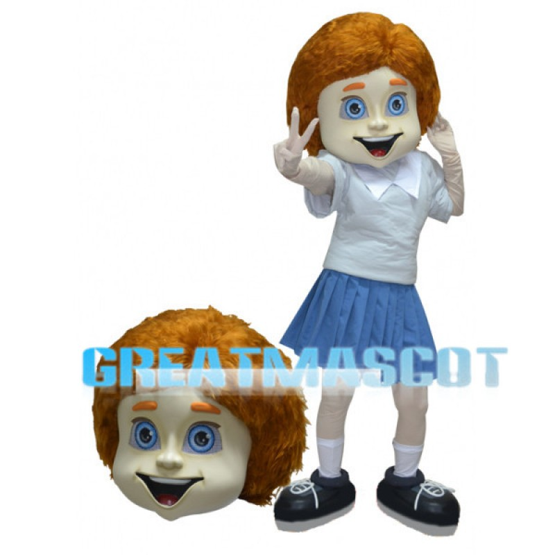 Smiling Girl Mascot Costume Wearing A Pleated Skirt