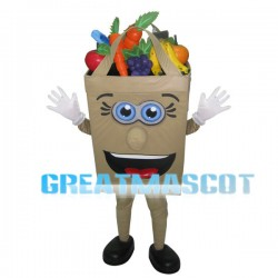 Cartoon Shopping Bag Full Of Fruits And Vegetables Mascot Costume