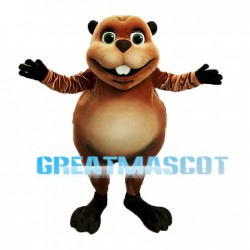 Cute Brown Beaver Mascot Adult Costume