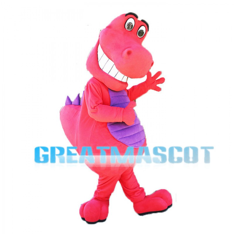 Smiling Pink & Purple Little Dinosaur Mascot Adult Costume