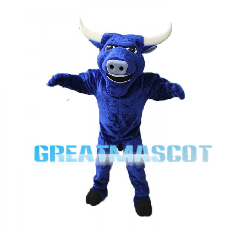 Power Blue Bull Mascot Adult Costume