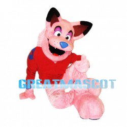Beautiful Pink Plush Wolf Mascot Adult Costume