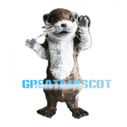 Long Fur Brown Otter Mascot Adult Costume