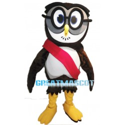 Brown Owl Mascot Adult Costume With Glasses