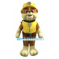 Adult Cartoon Yellow PAW Patrol Rubble Mascot Costume