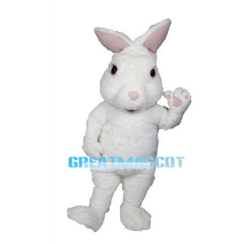 White Fuzzy Bunny Mascot Adult Costume