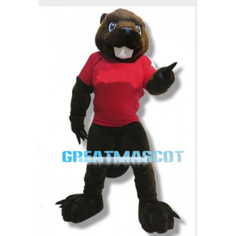 Power Brown Beaver Mascot Adult Costume