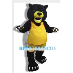 Fierce Black Bear Mascot Costume With Yellow Mouth