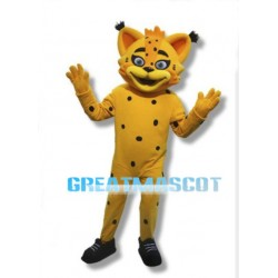 Friendly Yellow Lynx Mascot Adult Costume