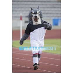 College Fierce Power Gray Wolf Mascot Adult Costume