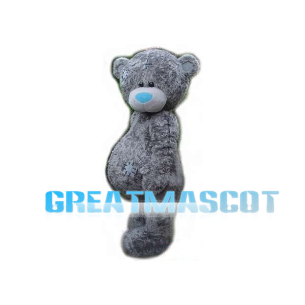 Adult Plush Gray Patched Bear Mascot Costume