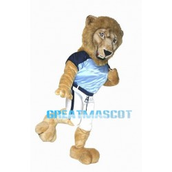 Long Fur Power Brown Lion Mascot Adult Costume