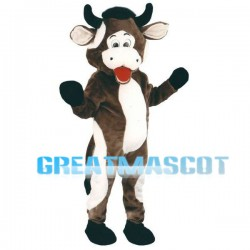 Brown & White Bull Mascot Adult Costume