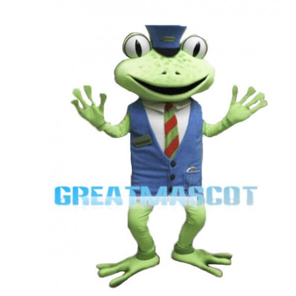 Green Frog Lobby Manager Mascot Adult Costume