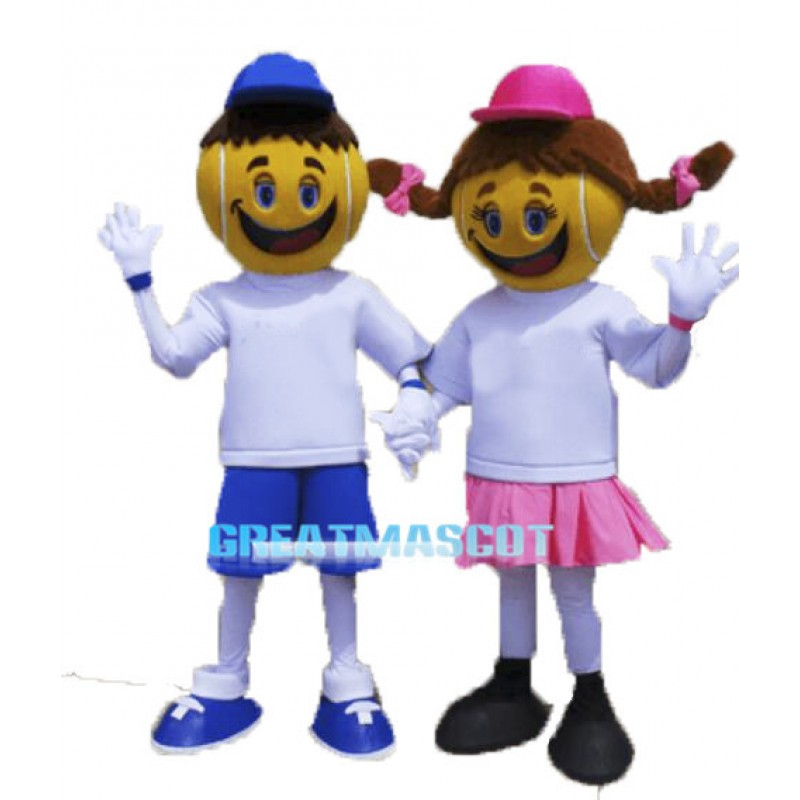 Polite Cartoon Tennis Boy And Tennis Girl Mascot Adult Costume