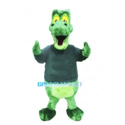 Plush Big Mouth Green Crocodile Mascot Costume Animal Fancy Dress
