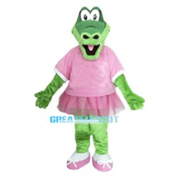 Green Crocodile Mascot Costume Wearing A Pink Skirt