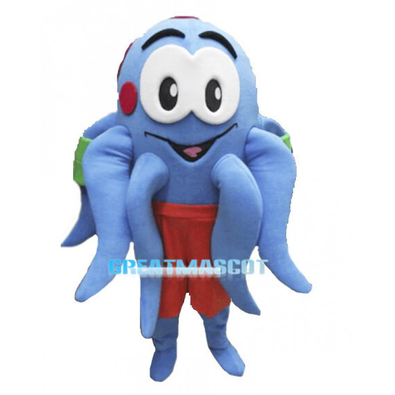 Lovely Cartoon Blue Octopus Mascot Costume