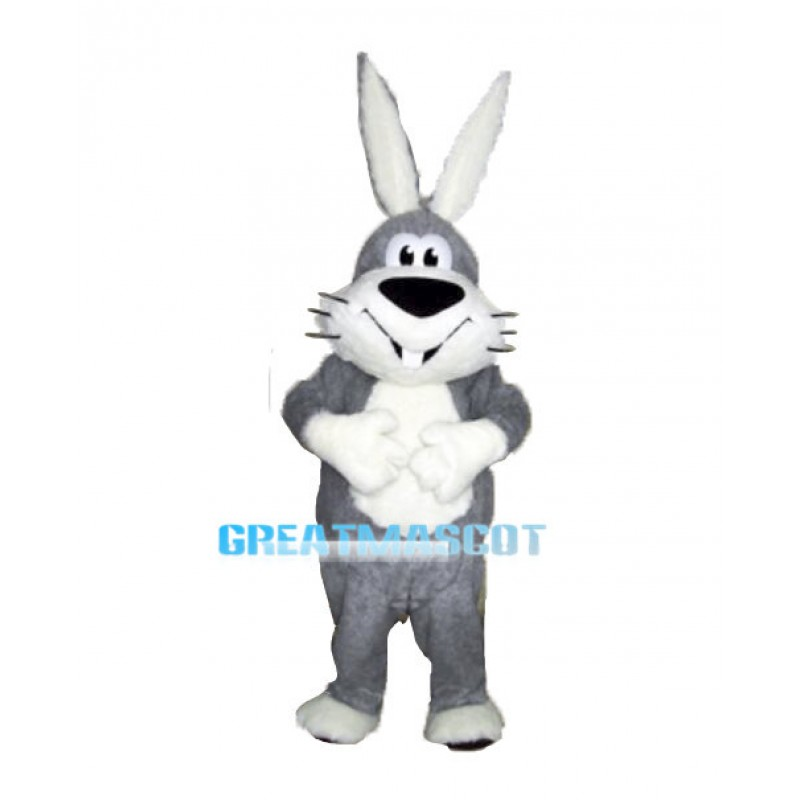 Lovely Plush Grey Bunny Mascot Costume