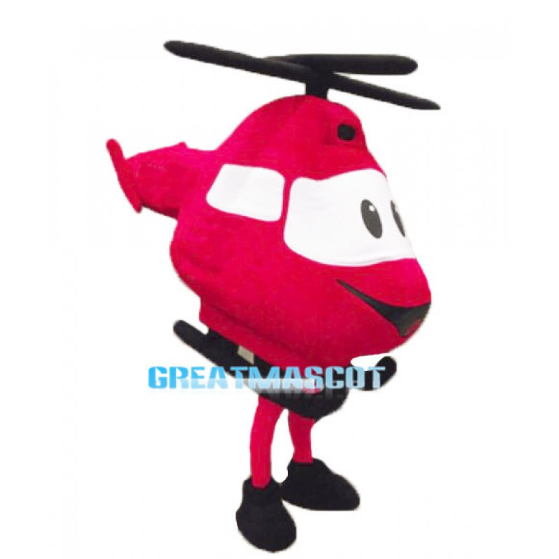 Cartoon Red Helicopter Lightweight Mascot Costume