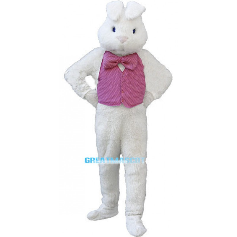 White Easter Bunny Plush Mascot Costume Wearing Red Vest