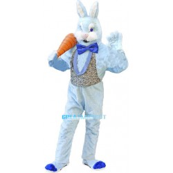 Plush Blue Bunny Mascot Adult Animal Fancy Dress Costume With Carrot
