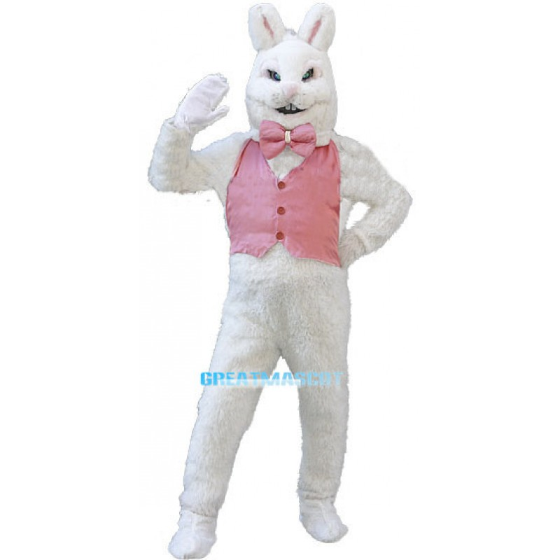 White Easter Bunny Plush Mascot Costume Wearing Pink Vest