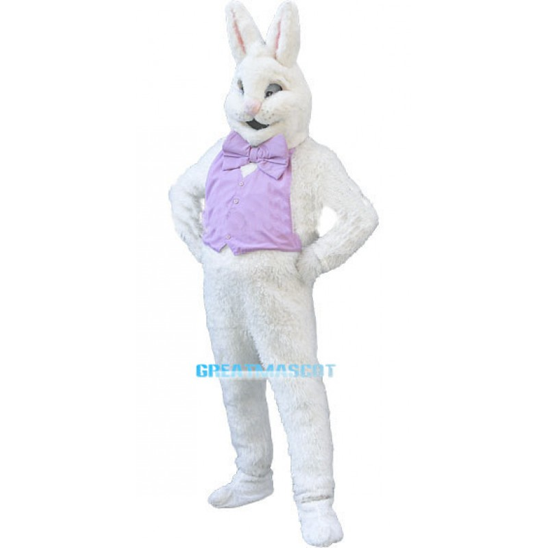 White Easter Bunny Plush Mascot Costume Wearing Purple Vest