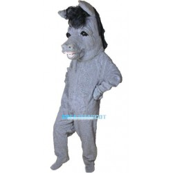 Grey Donkey Mascot Costume With Black Mane