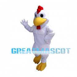 Power White Rooster Mascot Costume For Adult