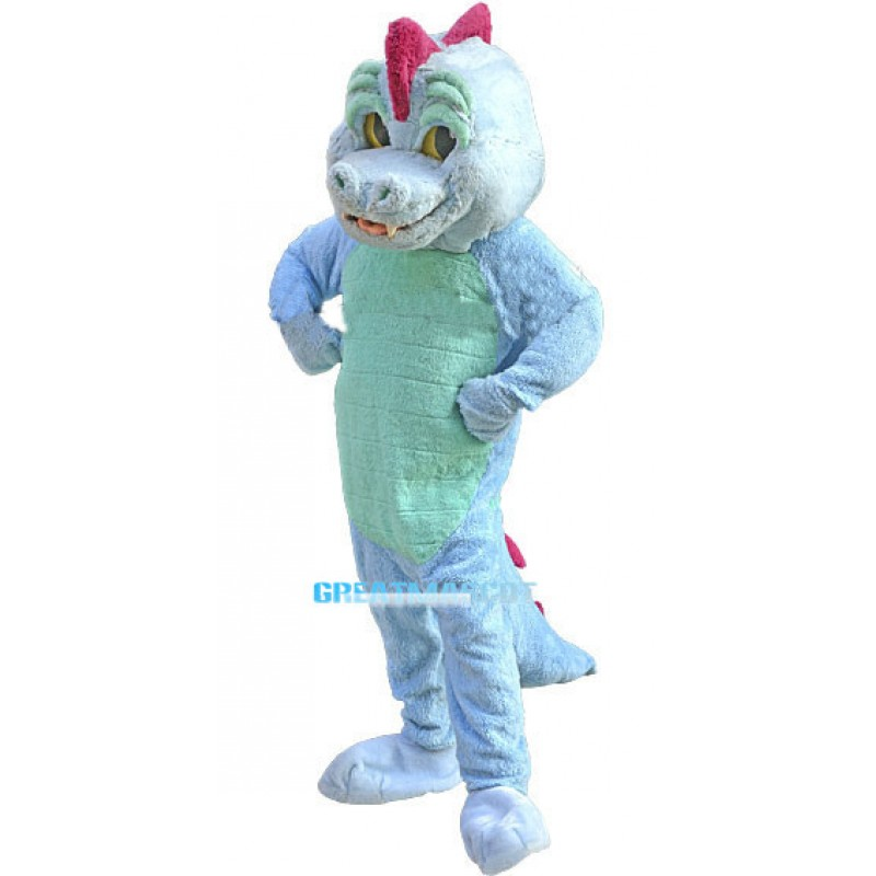 Cute Blue Crocodile Mascot Costume