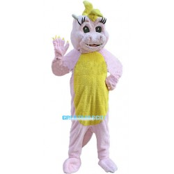 Cute Plush Pink & Yellow Crocodile Mascot Costume