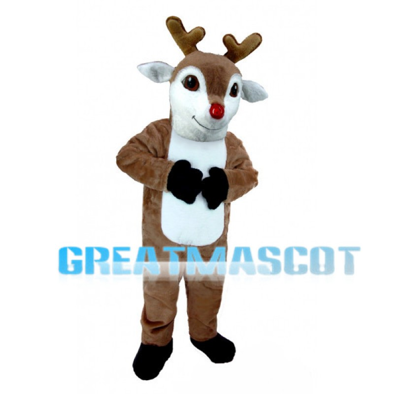 Cute Rudolph The Red-Nosed Reindeer Mascot Costume