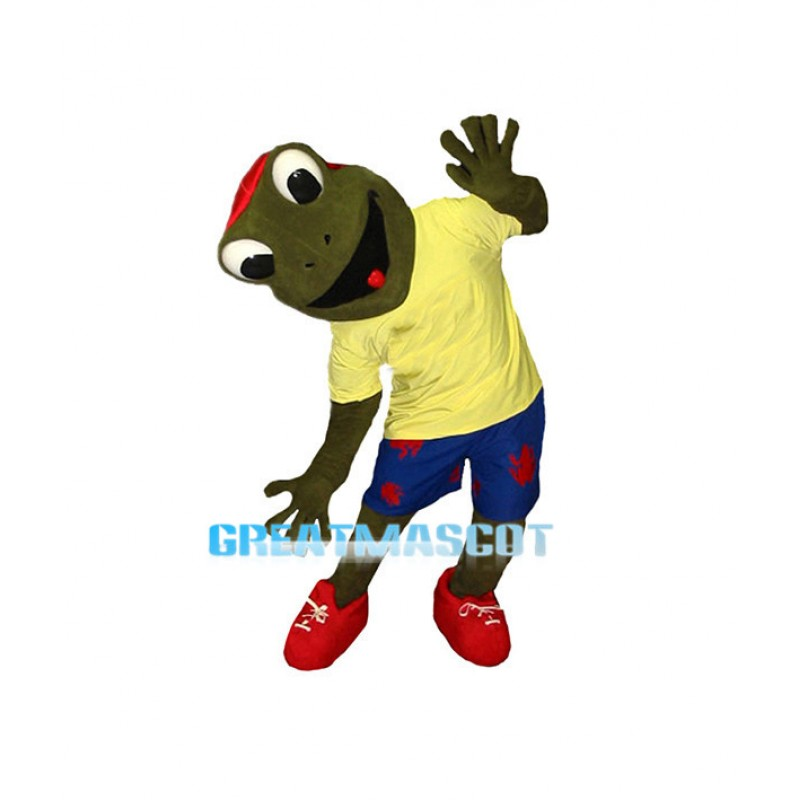 Lively Cartoon Green Frog Mascot Adult Costume